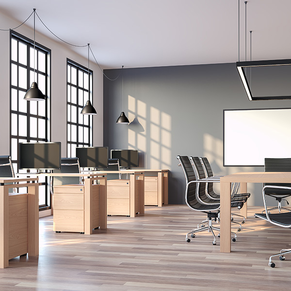 Modern loft style office with gray wall 3d render